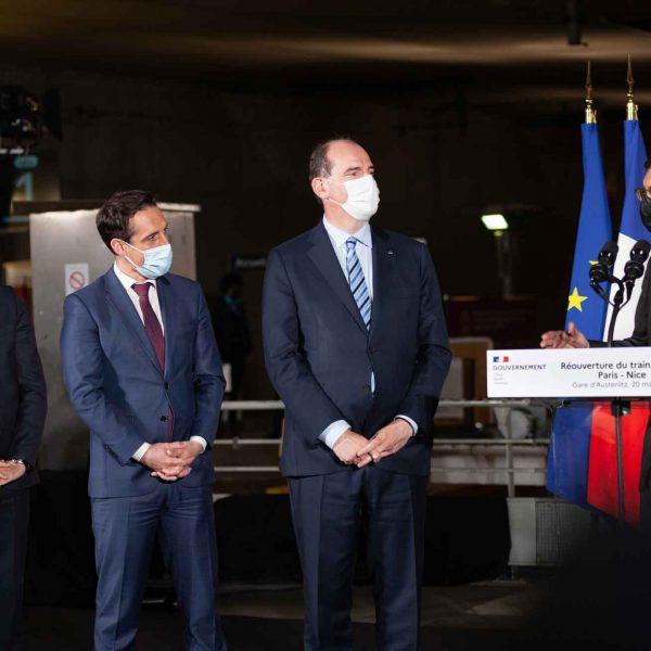 Jean Pierre Farandou - Jean-Baptiste Djebbari ministre des transports --Jean Castex Premier ministre - Christophe Fanichet -inauguration Train de nuit Paris Nice - Gare d'austerlitz